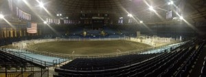 Brick Breeden Fieldhouse after it has been transformed into a rodeo arena.