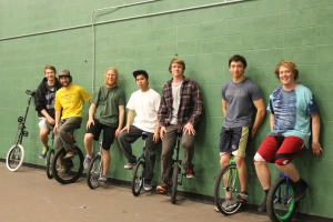 Members of the MSU Unicycle Club take their sport indoors in the winter.